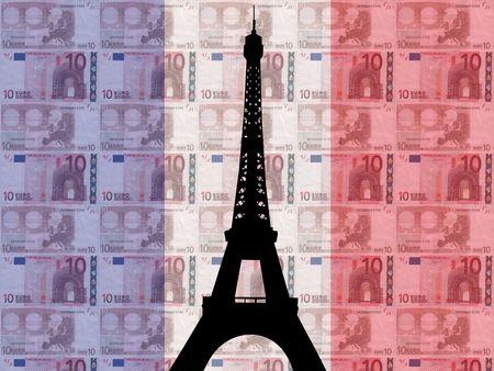 european euro: Eiffel tower with 10 euros and French flag