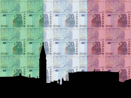20 euro: St Marks Square Venice with  20 euro and italian flag Stock Photo