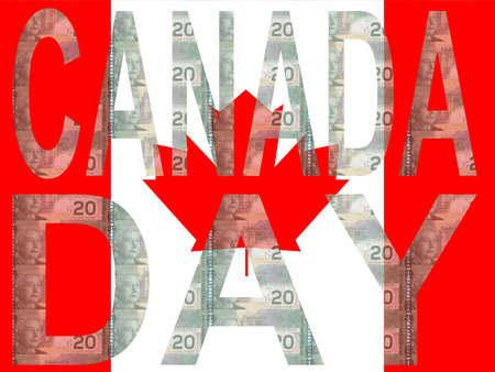 canadian currency: Canada Day with canadian flag and currency illustration