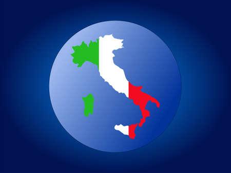 map and flag of Italy globe illustration illustration