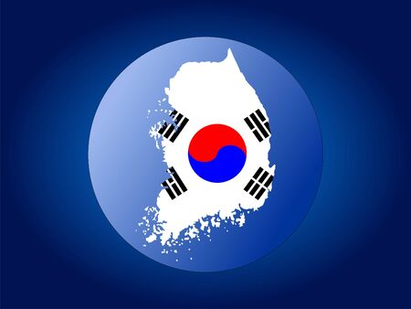 globe illustration: map and flag of Korea globe illustration