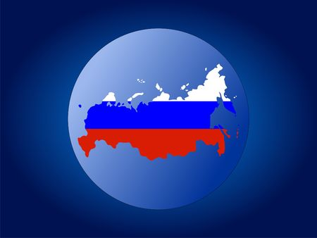 federation: map and flag of Russian Federation globe illustration