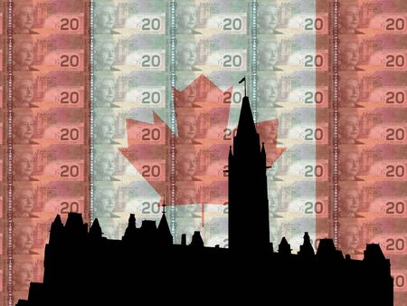 elizabeth tower: Canadian Parliament with flag and currency of Canada