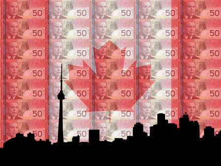 toronto: Toronto skyline with flag and currency of Canada Stock Photo