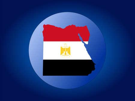 map and flag of Egypt globe illustration