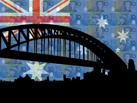 Sydney harbour bridge against Australian flag and currency photo
