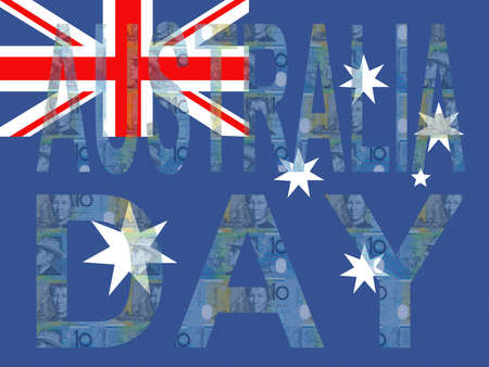 australian money: Australia Day with flag and currency illustration