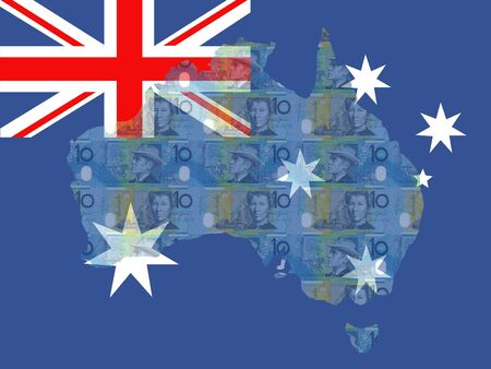 australian money: Australian map, flag and currency illustration