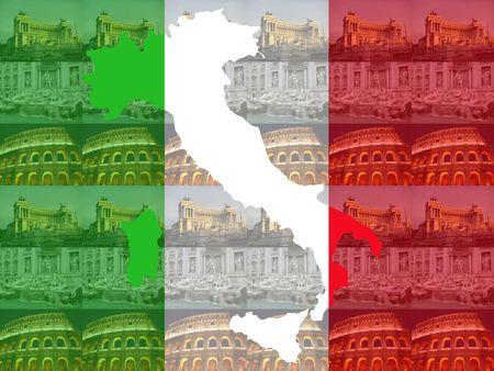 colloseum: Map of Italy against Trevi Fountain, Colosseum and Vittorio Emanuelle Monument