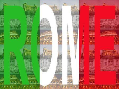 colloseum: Rome text with Trevi Fountain, Colosseum and Vittorio Emanuelle Monument Stock Photo