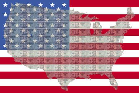 spangled: map of USA against twenty dollar bills and American flag