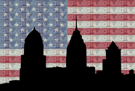 greenbacks: Philadelphia skyline against twenty dollar bills and American flag