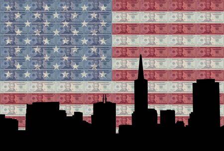 San Francisco skyline against twenty dollar bills and American flag photo