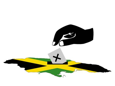 jamaican: hand voting with ballot paper in jamaican election Stock Photo