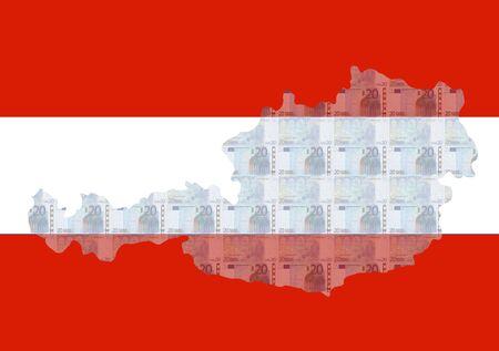 austrian flag: Map of Austria with 20 euros and Austrian flag