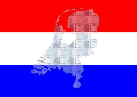 Map of Netherlands with 20 euros and Dutch flag photo