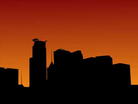 Minneapolis skyline at sunset illustration illustration