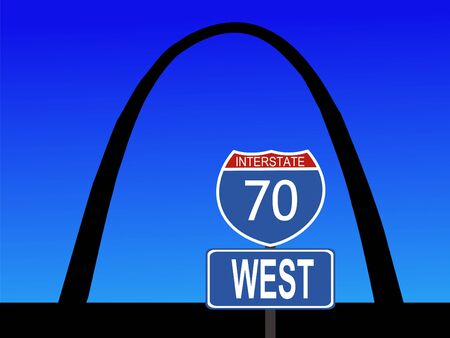 Gateway Arch St Louis Missouri with interstate 70 sign Stock Photo - 1104669