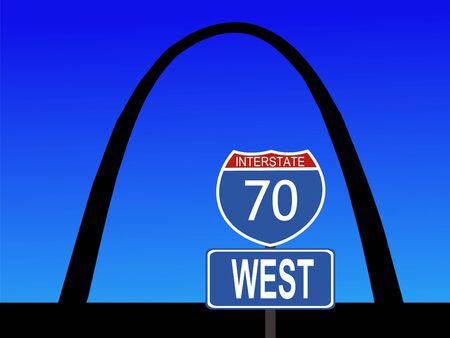 Gateway Arch St Louis Missouri with interstate 70 sign Stock Photo - 1104669