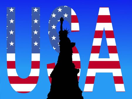 Statue of Liberty against American flag USA text illustration Stock Illustration - 1104642