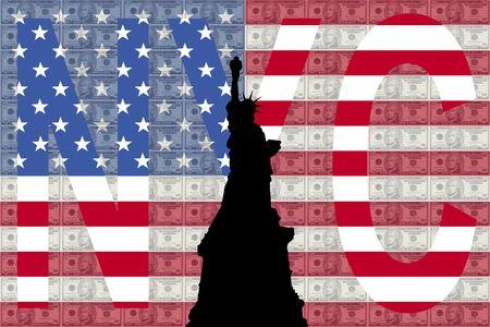 hamilton: Statue of Liberty against ten dollar bills and NYC