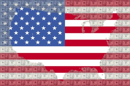 hamilton: map of USA against ten dollar bills and American flag