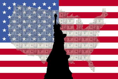 alexander hamilton: Statua della Libertà contro dieci fatture dollaro americano e mappa e bandiera