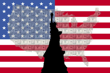 hamilton: Statue of Liberty against ten dollar bills and American map and flag
