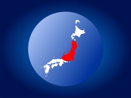 map and flag of Japan globe illustration illustration