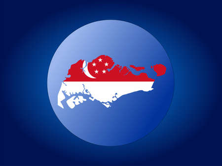 singaporean flag: map and flag of Singapore globe illustration Editorial