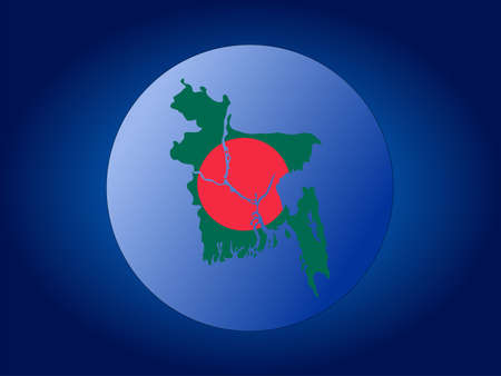 map and flag of Bangladesh globe illustration illustration