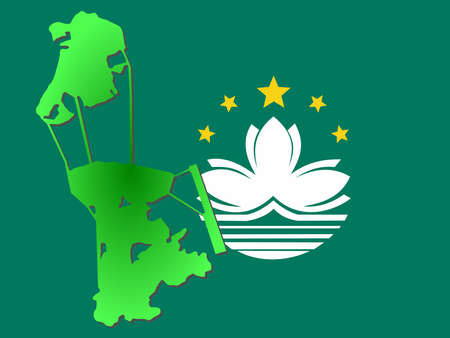 macau: map of Macau and their flag illustration Stock Photo