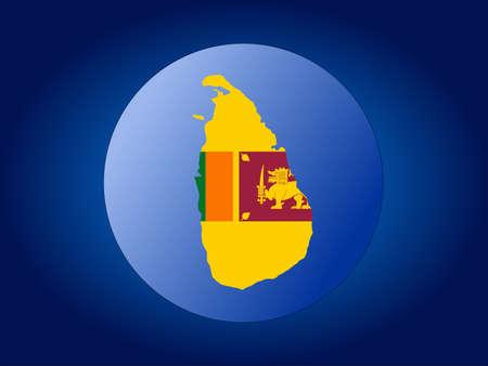 map and flag of Sri lanka globe illustration illustration