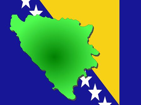 map of Bosnia Herzegovina and their flag illustration