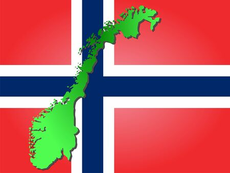 map of Norway and their flag illustration