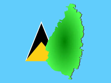 st lucia: map of St Lucia and their flag illustration