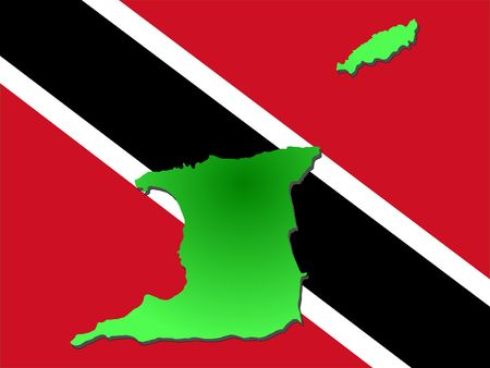 map of Trinidad and their flag illustration Reklamní fotografie - 1140683
