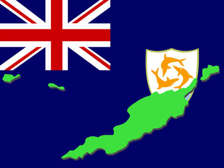 anguilla: map of Anguilla and their flag illustration