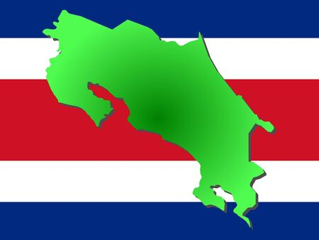 map of Costa Rica and their flag illustration Reklamní fotografie