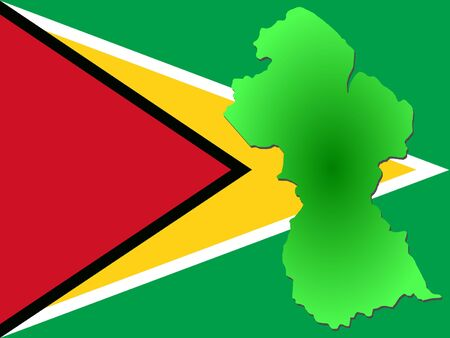 map of Guyana and their flag illustration