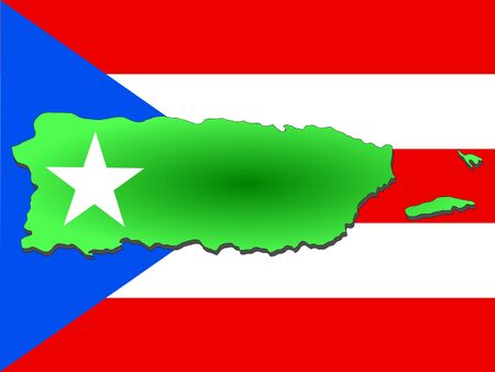 puerto rico: map of Puerto Rico and their flag illustration