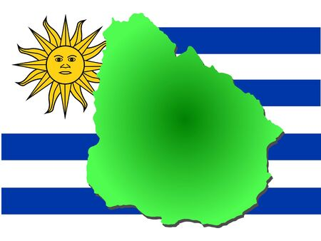 map of Uruguay and their flag illustration