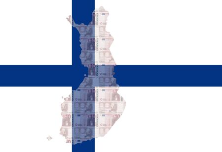 finnish: map of Finland with  10 euro and Finnish flag illustration
