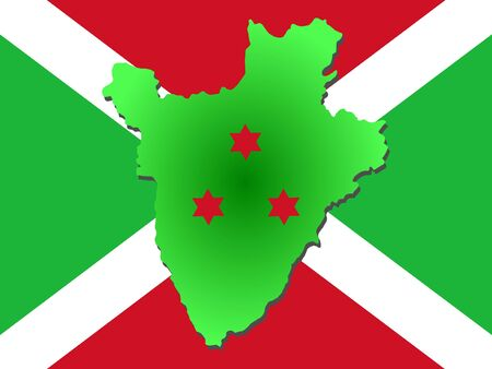 map of Burundi and their flag illustration illustration