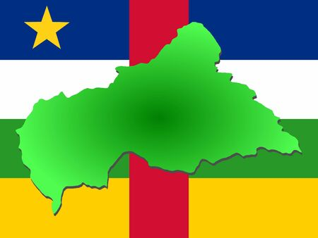 central african republic: map of Central African Republic and their flag illustration