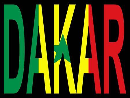 dakar: city of Dakar with flag of Senegal