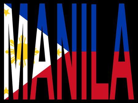 manila: city of Manila with flag of Philippines