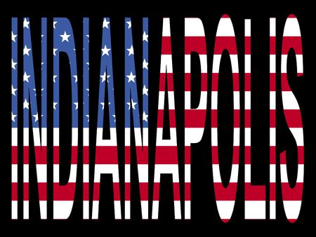 indianapolis: city of Indianapolis with flag of the United States of America Stock Photo