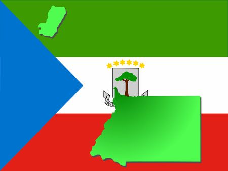 map of Equatorial guinea and their flag illustration illustration