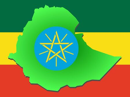 map of Ethiopia and their flag illustration illustration